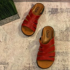 Chaco Leather Sandal Slides Rust Red Women's 9 EUC